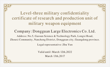 Large Power was awarded level-three military confidentiality certificate